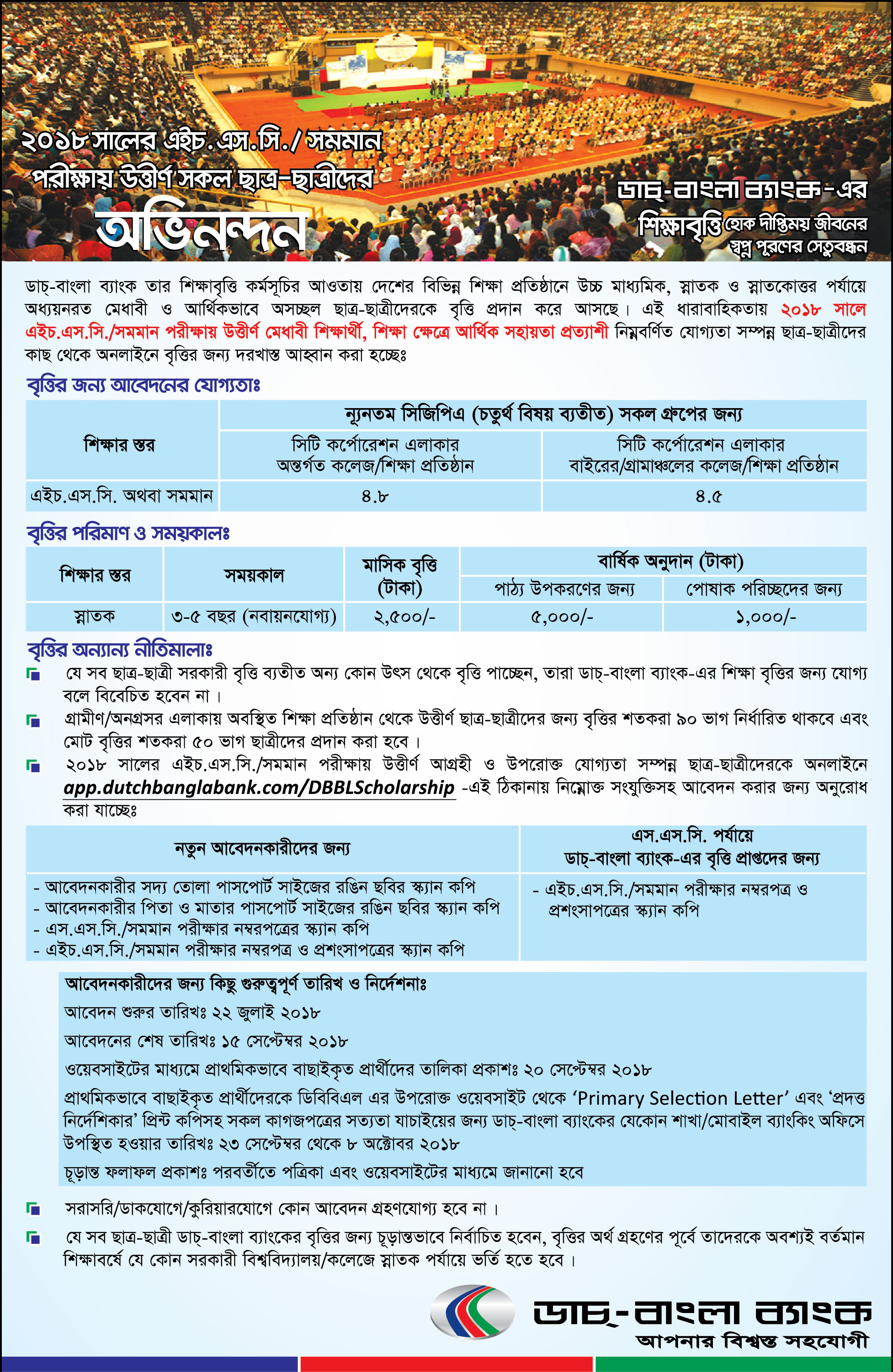 Dutch Bangla Bank DBBL HSC Scholarship Circular